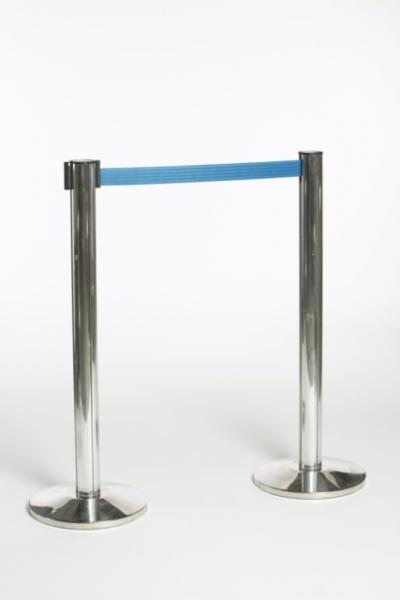 Afzetpaal met blauw oprolbaar lint 2 m