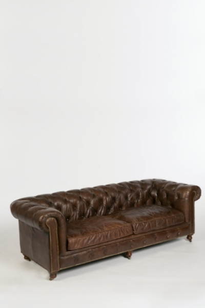 Canapé Chesterfield 3p marron, location canpé chesterfield