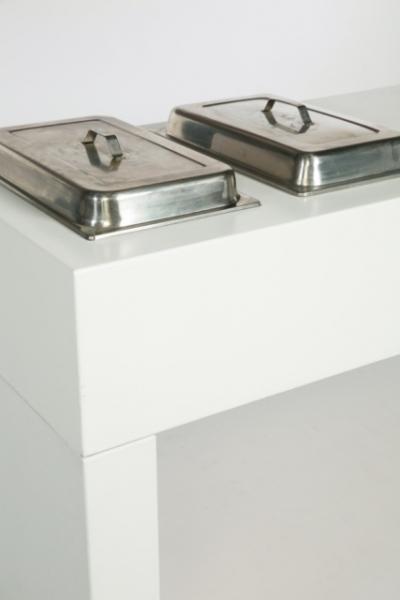 LW: Table de buffet blanc 180 avec Creux pour 2 Chafing