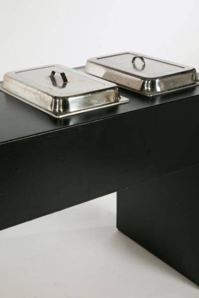 TB: Table de buffet noir 300 avec Creux pour 4 Chafing